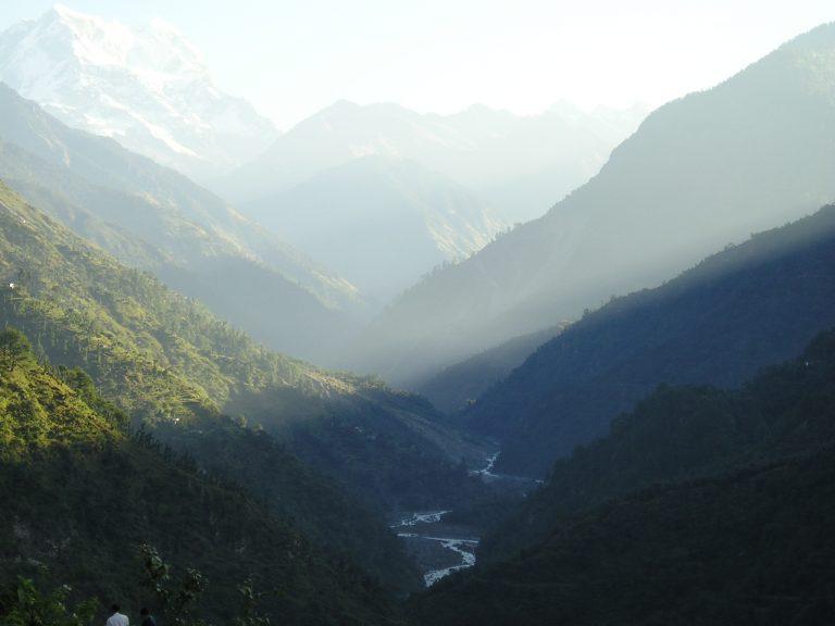 Ganga flowing in between the Himalayas